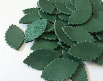 Leather Leaves, Green,  20 mm. 30 mm. High, Leather Leaves Die Cut, Leather Leaves Decoration, DIY Projects.