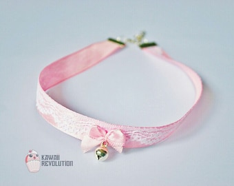 Choker Lolita Pastel Goth with Ribbon bell ddlg petplay kittenplay kink pet play kitten play collar bdsm fetish collar day choker plus sized