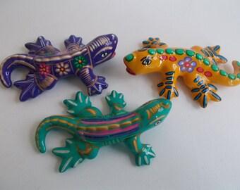 3 Ceramic Lizards