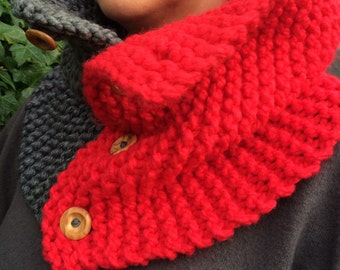 Hand knitted, super chunky cowl with wooden buttons
