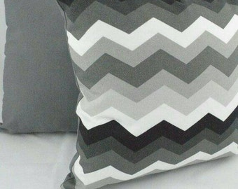 """Indoor/Outdoor Black, White and Gray chevron cushion cover. Fits a 20""""x20 """" pillow insert."""