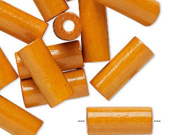 Orange Tube Beads, Wood Tube Beads, Tangerine Orange, 18x7mm, 12 Beads, D910