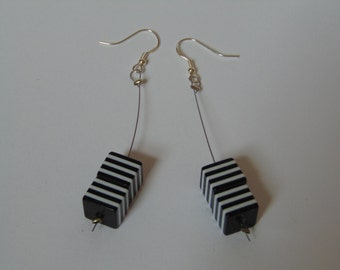 Black and white square bead earrings
