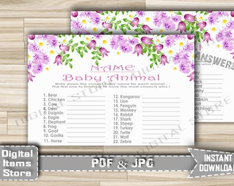Printable Baby Animal Name Game Floral - Baby Animal Name Game With Purple Flowers for Baby Shower Girl - Instant Download - fg1
