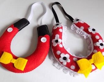 Disney inspired wedding horseshoes - disney themed  wedding - mickey minnie inspired horseshoes