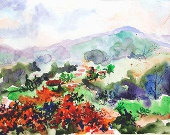 Landscape painting Original watercolor painting watercolor Nature painting Foothill painting original watercolor art Autumn landscape art