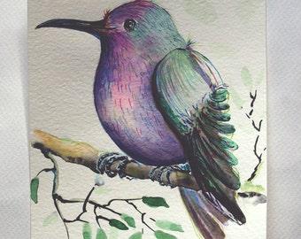 Exotic bird painting, Original watercolor painting, tropical bird painting, colorful bird, watercolor bird art, kids room decor