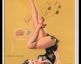 "Gil Elvgren Vintage Pinup Illustration ""Station W.O.W."" Sexy Pinup Mature Wall Art Deco Book Print 5.5"" x 4"""