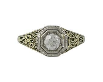 Platinum & 14K Yellow Gold Edwardian Filigree Diamond Ring