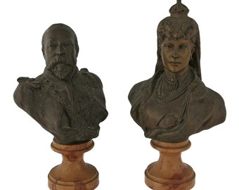 Pair Of Bronze Portrait Busts Edward VII And Alexandra Of Denmark