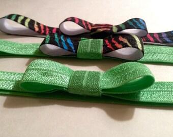 Set of 3 Infant Headbands - Neon Zebra