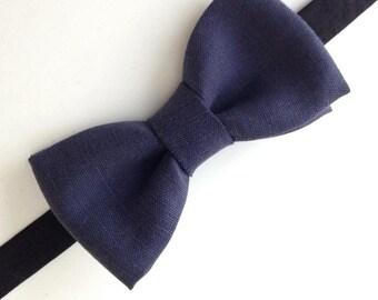 Blue bowtie Navy linen