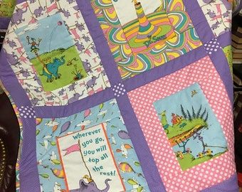 Dr Seuss Oh the Places You'll Go Book Fabric Quilt/Throw/Comforter/Blanket Baby/Child/Lap