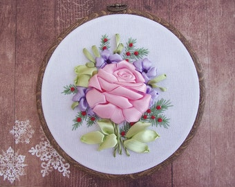 Ribbon Embroidery Hoop Art, Fabric Flower Wall Decoration, Hand Embroidery Wall Hanging - Light Pink Rose