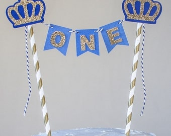 Little Prince Cake bunting, Gold Crown Cake Bunting, One cake bunting, smash cake