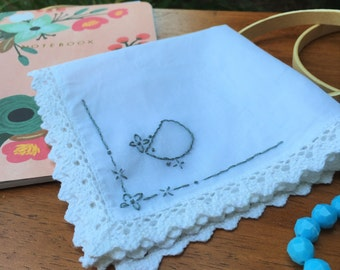 PDF Pattern for Embroidered Handkerchief: Initial D