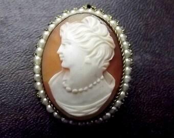 Art Nouveau Era Shell Cameo Pendant with natural pearl