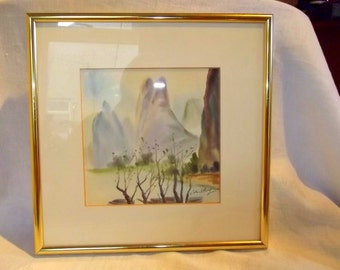Contemporary Watercolor Chinese Landscape . Signed