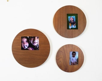 Wooden Picture Frame -  Round Wall Mount Hanging Display Circle Photo