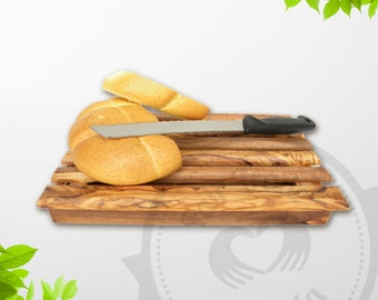 FREE EXPRESS SHIPPING - Olive Wood Bread Cutting Board