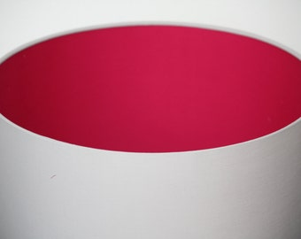 Hot pink and light grey fabric handmade drum lampshade available in a variety of sizes