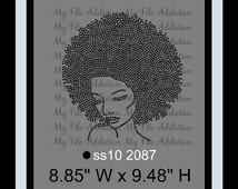 Instant Download Rhinestone SVG EPS Design File Afro Woman Lady