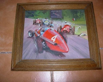 framed original oil painting ascari spins in the 1953 italian grand px