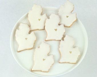 Michigan Wedding Cookie Favors - White - Sugar Cookies