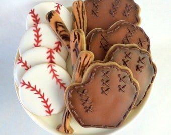 Assorted Baseball Cookies - Baseball, Baseball Bat, Catcher's Mitt or Glove