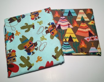 Baby Boy Receiving Blankets/ Swaddle Baby Blanket/ Owl Cowboys and Teepees