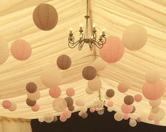 18-Pack Ivory Pastel Pink Tan Brown Round Paper Lantern Lampshade for Wedding Shower Party Decoration