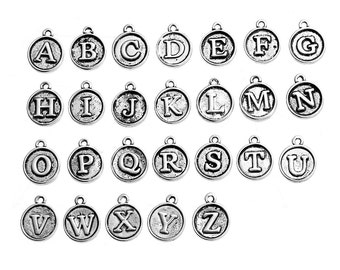Small 26 Alphabet Letter Charms Antique Silver Tone, Round Initial Charms, Full set of 26 Letter Beads, 5401, 247