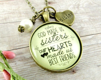 Sisters Necklace God Made Us Sisters, Best Friends Gift for Sister Bronze Vintage Style Glass Pendant Sister Heart Charm