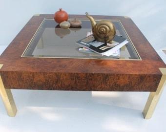 Century Furniture  Burlwood And Brass Coffee Table.