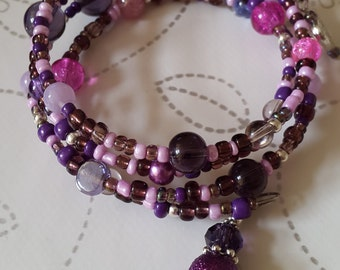 Beaded pink and purple memory wire bracelet