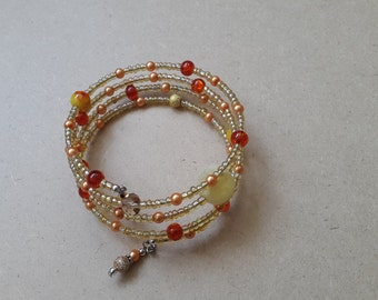 Yellow and orange memory wire bracelet