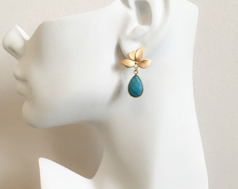 Turquoise Drop Earrings - Gold and Turquoise Earrings - Gold Leaf with Turquoise Earrings