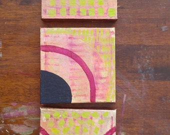 Abstract Canvases in Lime Green, Magenta, and Navy