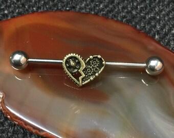 Cog Gears Heart Steampunk Antique Scaffold/Industrial Piercing Barbell - UK Seller