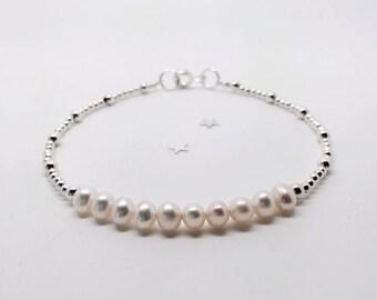 Bridesmaid Gift, Bridesmaid Jewellery, Pearl Bracelet, Silver Bracelet, Freshwater Pearl, Stacking Bracelet, Thank You Gift For Bridesmaid