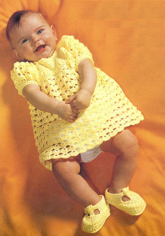 Instant PDF Digital Download Vintage Crochet Pattern to make a Beautiful Short Sleeve Lace Baby Dress & Mary Jane Shoes in 3 ply Chest 18