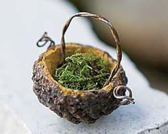 Fairy Garden Tiny Acorn Basket, Miniature Basket, Dollhouse Miniature Basket, Fairy Garden Accessories