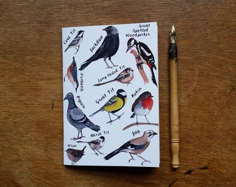 A6 Bird Notebook with printed pen and ink Illustrations by Alice Draws The Line