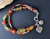 30% SALE - Lampwork Glass Bracelet, Silver Bracelet, Multistrand Bracelet, Heart Bracelet, Orange, Green, 8 Inch Bracelet (B44)