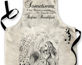 Alice In Wonderland Quote V2 Design Apron Kitchen bbq Cooking Painting Made In Yorkshire
