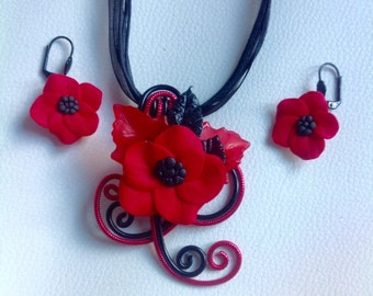 Ornament black and red poppies
