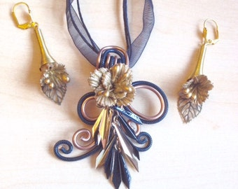 Black  and gold aluminum wire and cold porcelain jewelry set