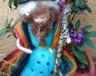 Wool Felt Fairy - Rainbow Wizard