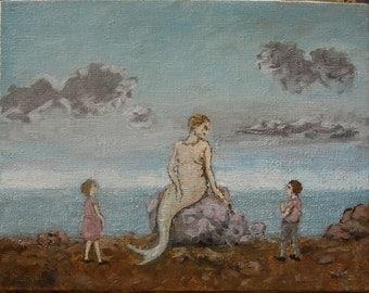 Original oil painting, 2 children meeting a mermaid.