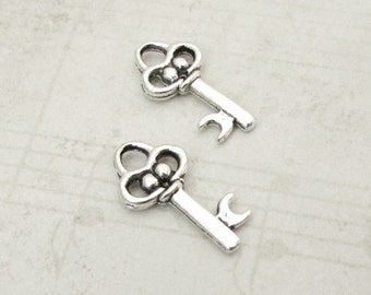 10pcs Skeleton Key Charms, Antique Silver Key Charms, Earring Charm, Pendant Charm, Jewelry Making, Craft Supplies, 20x10mm, Metal Charm